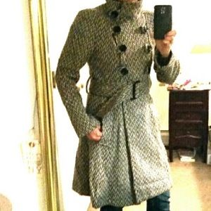 Jackets & Blazers - Tweed belted wool coat
